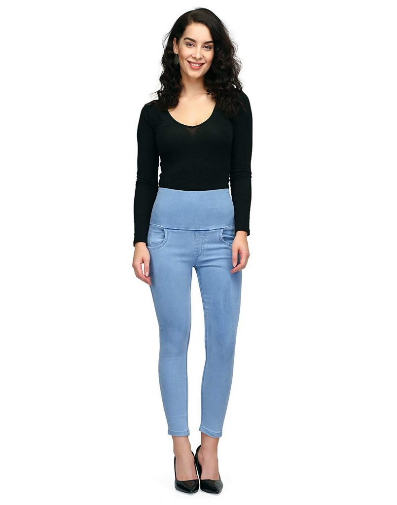 Blue Strechable Skinny Denim Jeans for College Girls