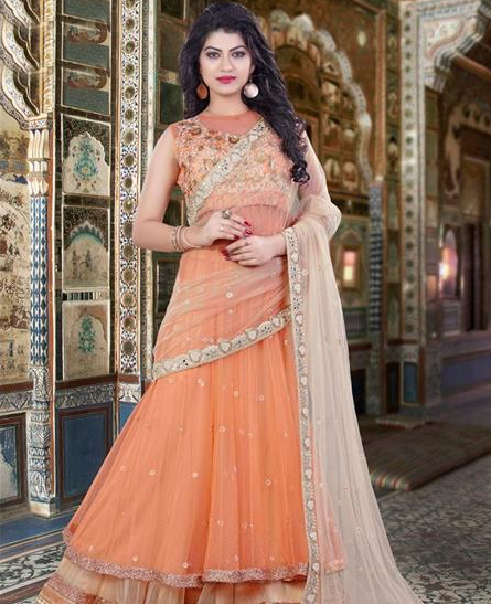 Salmon orange lehenga for Karwa Chauth