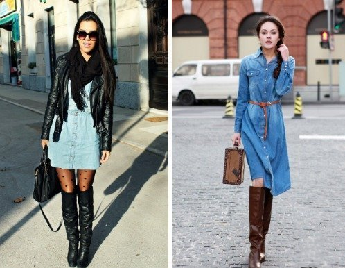 Denim Dress to wear in winter