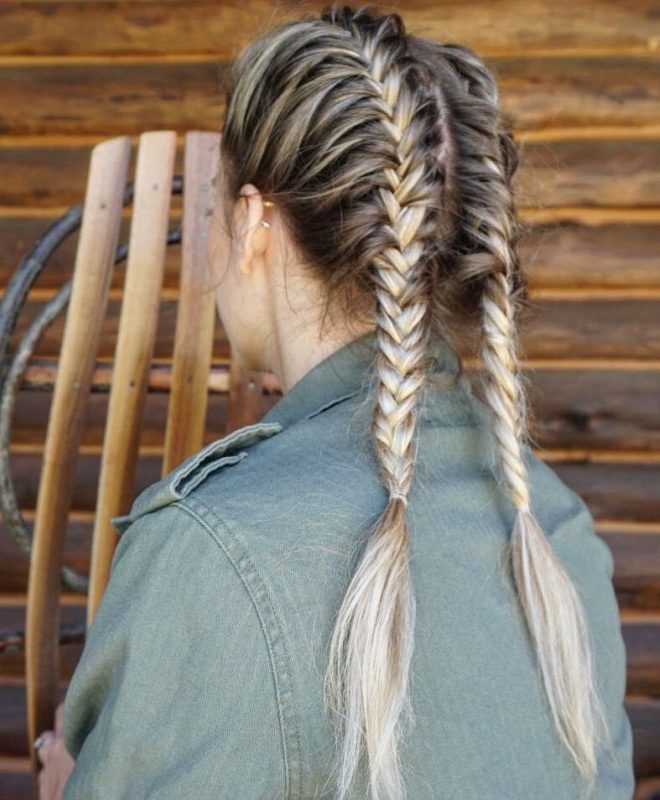 Fishtail Pigtail Hair Style for Log hair Girls