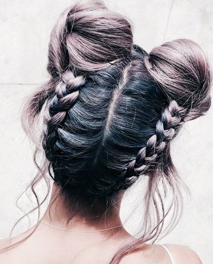Double-Dutch braid bun