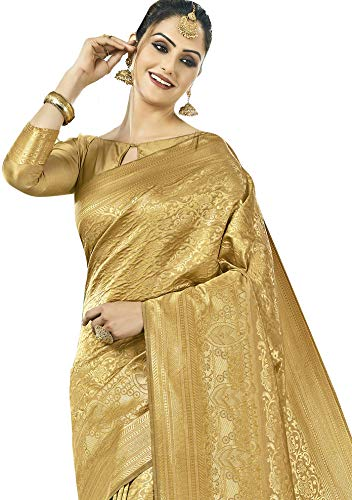 Women's Kanchivaram Art Silk Heavy Zari Woven Saree for durga puja 2019 2020
