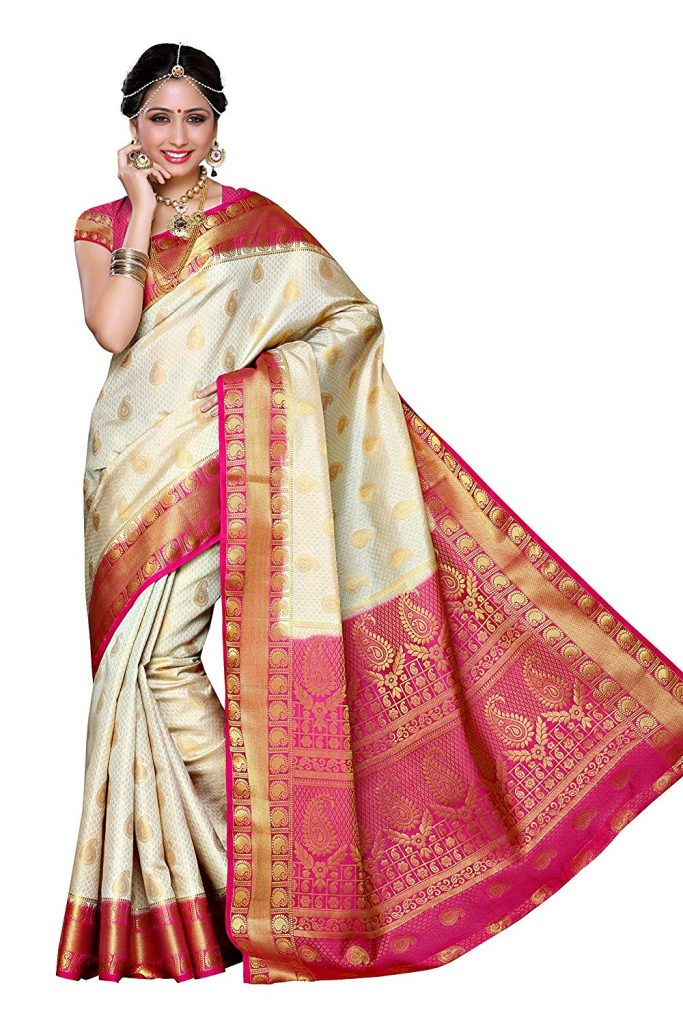 durga puja saree Bengali style with blouse on amazon