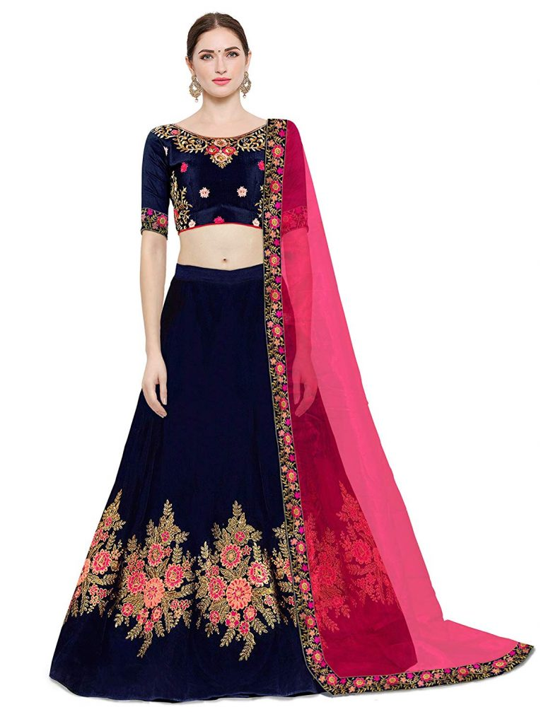 lahanga choli for pooja festivals in india from amazon blue