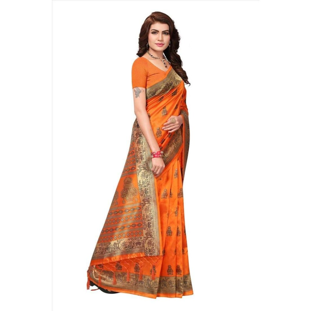 orange color saree silk for karwa chauth from amazon