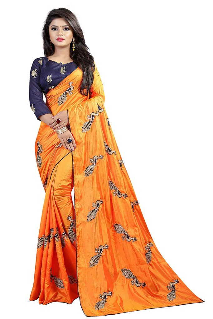 silk saree orange for karwa chauth