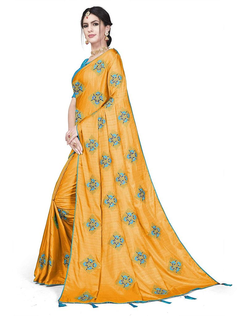 Sleave Women's Paper Silk Embroidery Work Saree With Blouse