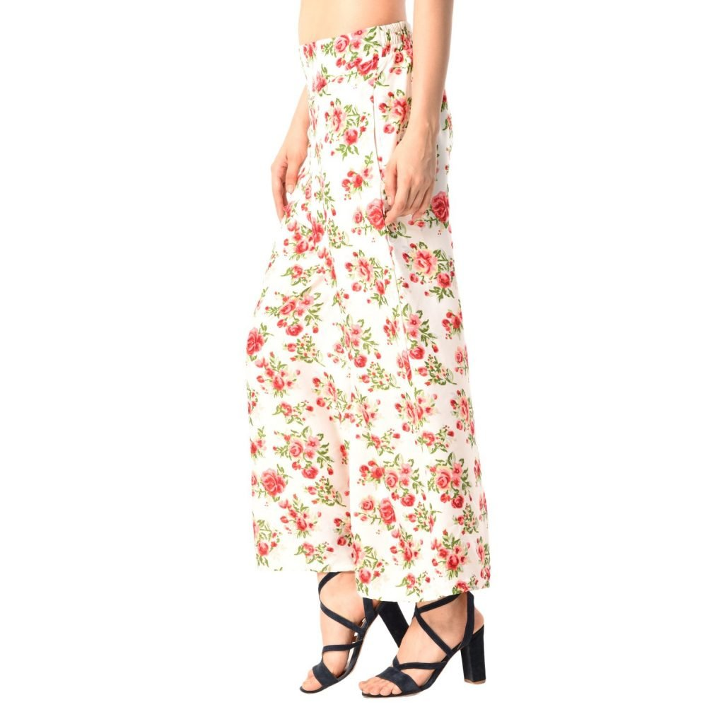 Ladies Printed Poly Crepe Palazzo with Short Style Inner Lining